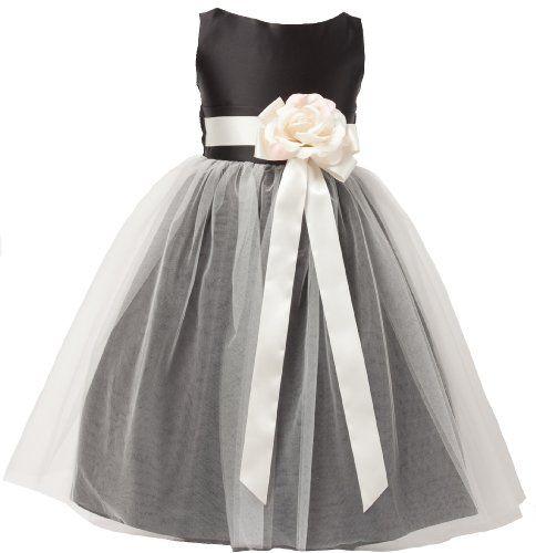 Vintage Satin Tulle Special Occasion Flower Girl Dress Black 6 ...