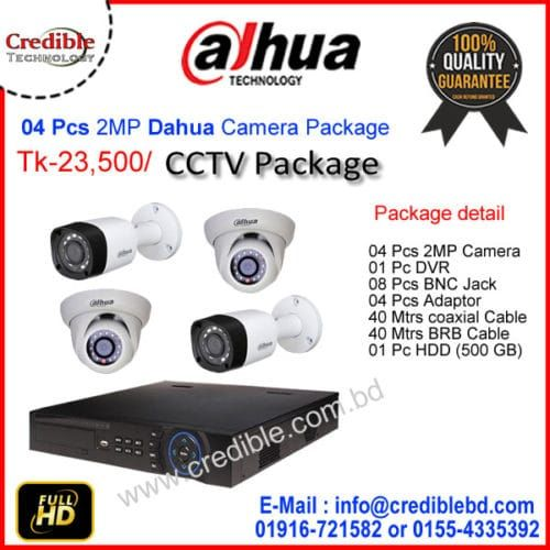 04 Pcs 2mp Dahua Camera Package Price Credible Technology Cctv Camera Cctv Camera Price Camera Prices