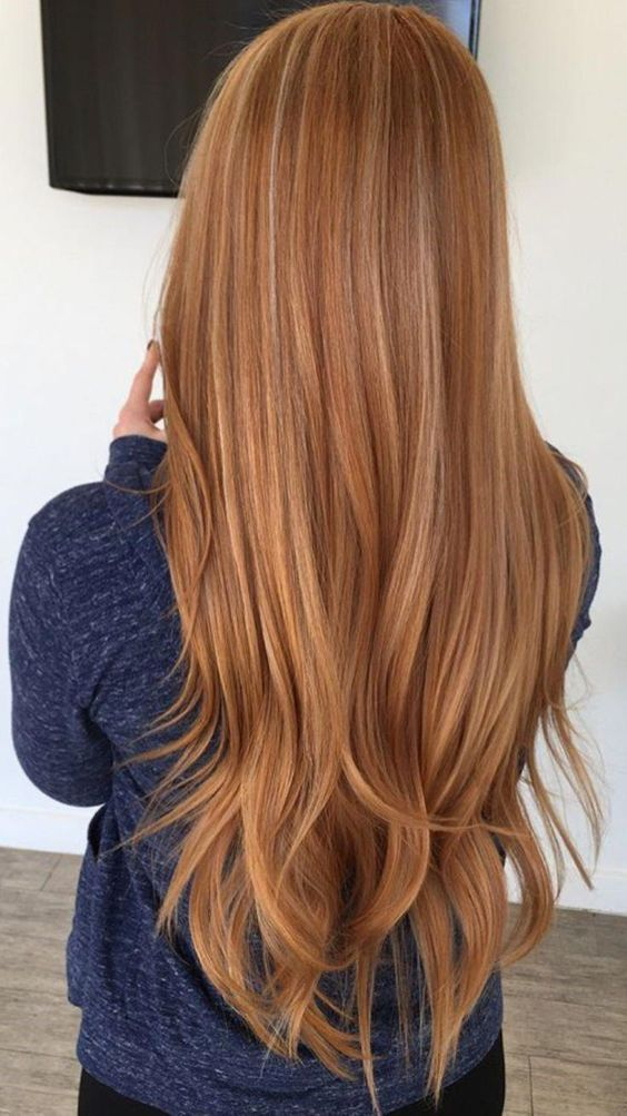 Heavenly Copper Hair Color On Long Straight Hair Ginger Hair Color Red Hair With Blonde Highlights Red Blonde Hair