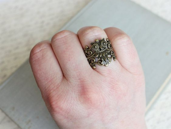 Eule-Ring. Filigran-Anweisung Ring. Rustikale von WearitoutJewelz