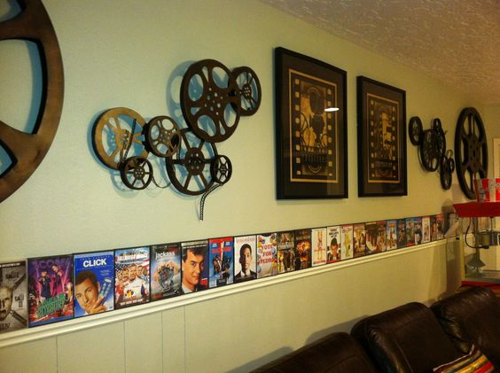 Theater Room Ideas. Take empty DVD boxes and display along