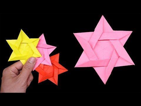 Origami Double NINJA Star Tutorial - YouTube | 360x480