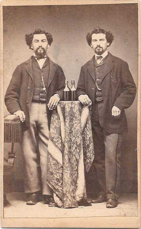 CDV of brothers with bottles of beer