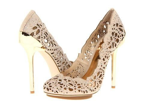 BCBG MAX AZRIA @Zappos Nude Lace Cutout Platform Pumps With Gold ...