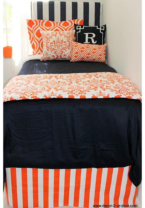 Auburn university designer teen dorm bed in a bag teen - Navy blue and orange bedding ...