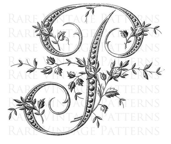 French alphabet stencil large letter p monogram for Large monogram letter stencil
