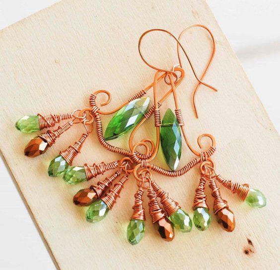 Green Gold Crystal Copper Wire Wrap Peacock Chandelier Earrings #Jeanninehandmade #Wrap