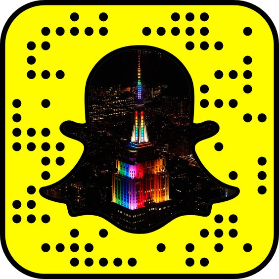 """Follow the Empire State Building on Snapchat (as empirestatebldg) for daily updates from NYC! 1) From your computer: Open Snapchat on your phone, point your camera at this code, tap it, press and hold to scan, then tap """"Add Friend."""" 2) On your phone: Take a screenshot of this code, open Snapchat, go to your profile, choose """"Add Friends"""" and then """"Add by Snapcode."""""""