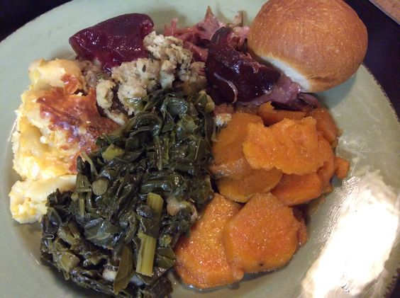 """Thanksgiving is everyday in my house! mixed Greens (collards, mustard, and turnips), Sweet potatoes, Mac n cheese, Dressing, and Smoked Turkey. Can you say """"YUM"""""""