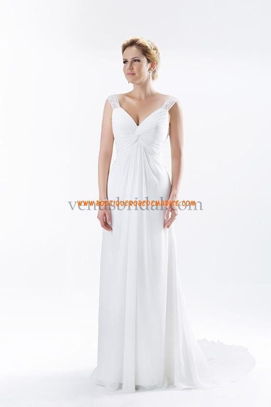 Robe de mariée Empire col V avec bretelles perlées