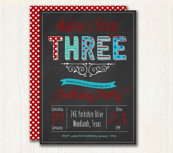 Third Birthday Chalkboard Invitation. Red by TracyAnnPrintables
