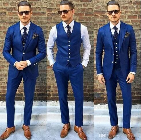 Blue Groom Tuxedos Wedding Suits Groomsmen Best Man For Young Man Prom Coupple Day Suits Jacket Pants Vest Custom Made Plus Size K23 Black Waistcoat Mens Black Blue Groomsmen Suits Blue Suit