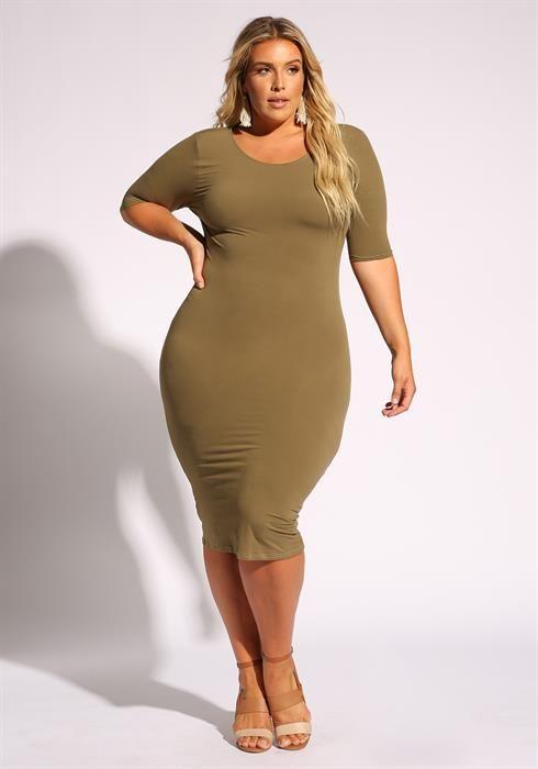 Plus Size Jersey Knit Bodycon Dress | Plus size outfits ...