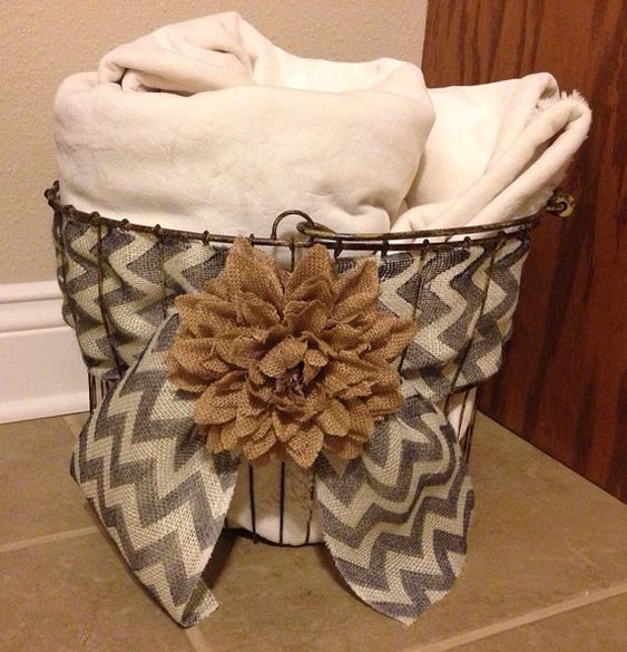 Large wire basket with burlap and burlap by CalliesCozyCottage... Idea for kitchen baskets