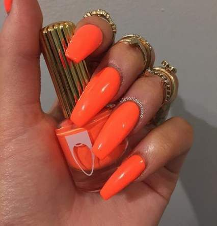 64 Trendy Nails Coffin Neon Orange Nails With Images Coral