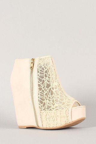 Lace Peep Toe Wedge Bootie