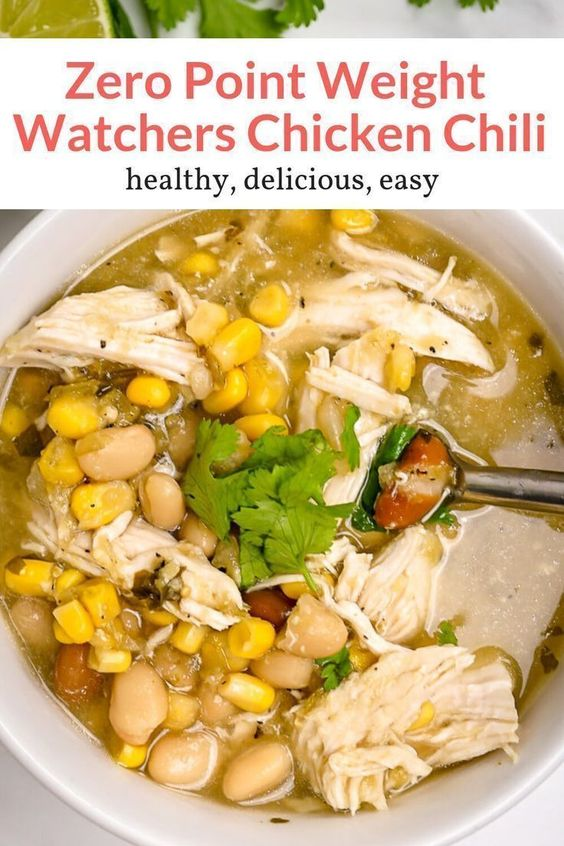 The easiest Zero Point Weight Watchers White Chicken Chili (with video) made with chicken breast, beans, corn, and green salsa is hearty, filling, and super delicious. Make it stovetop, in the slow cooker, or in the Instant Pot. A perfect soup for lunch or dinner, this healthy recipe from Slender Kitchen has 0 Weight Watchers Freestyle SmartPoints and is gluten free. #freezerfriendly #makeahead #quickandeasy