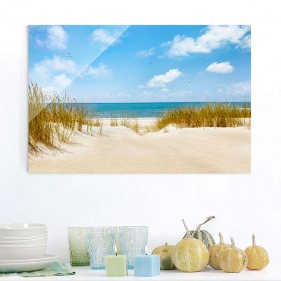 Glasbild #Strand - Strand an der #Nordsee - Strandbild Quer 23 - glasbild für küche