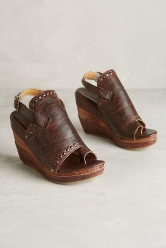 072c306f8f8c Anthropologie BED STU 7.5 Joanne Wedge Platform Sandals Studs Teak ...