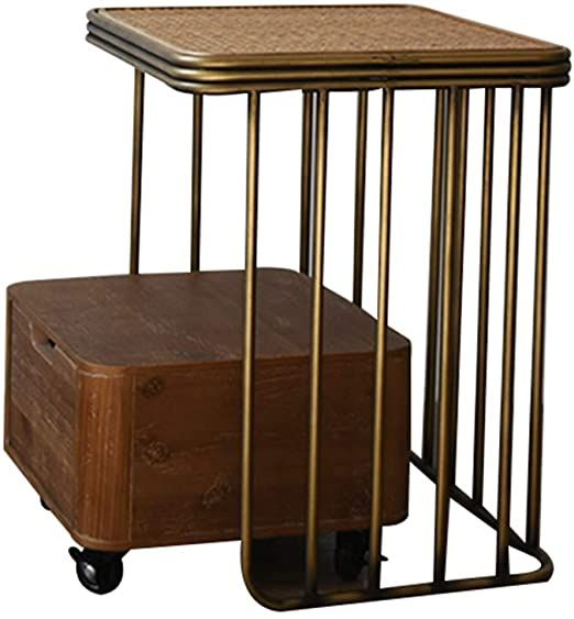 Hanshan Side Table Retro Rattan Wrought Iron Nightstand Side Cabinet With Drawer For Small Apartment 15 Times 14 Tim In 2020 Side Cabinet Side Table Cabinet Drawers