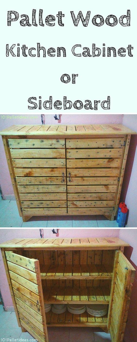 Pallet kitchen cabinet sideboard 101 pallet ideas for Pallet kitchen island plans