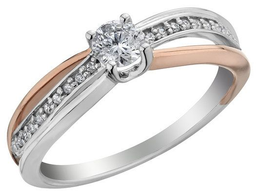 Diamond Engagement Ring 2/5 Carat (ctw) in 14K White and Rose Gold