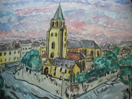 Now selling on Etsy, Eglise St Germain des Pres, watercolor  Marcel Serraillier   serraillier@aol.com