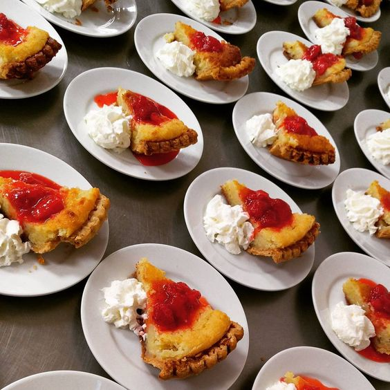 A sweet end to the evening. Buttermilk #pie with #strawberry compote and whipped cream.