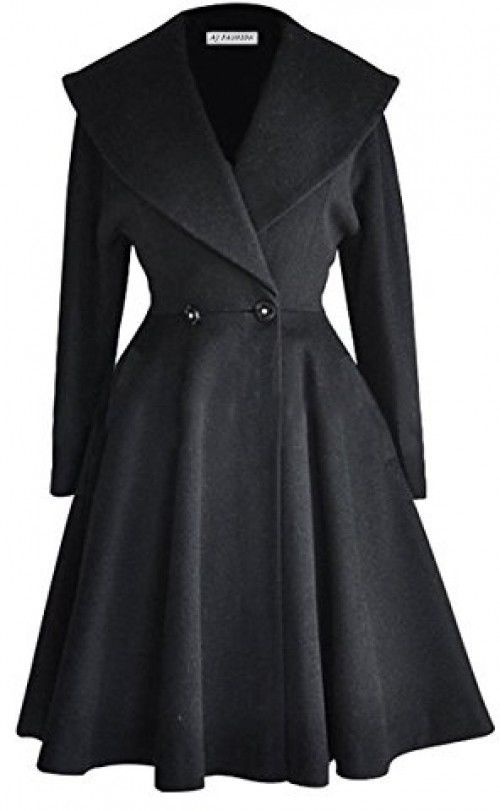 Womens Fit and Flare Wool Trench Coat Winter Long Overcoat Jacket Lapel Wrap 2XL