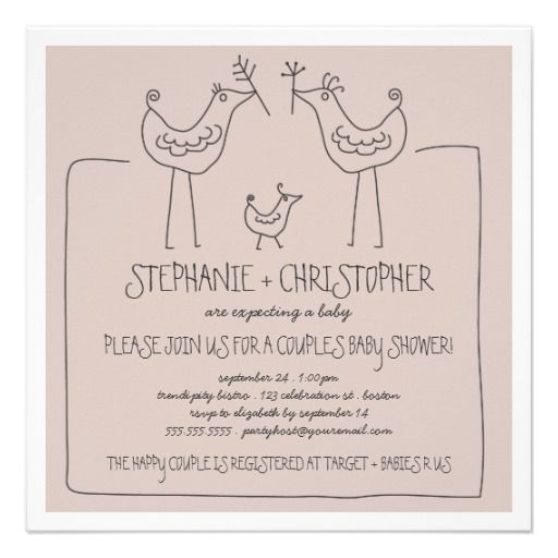 Funky Birds Modern Family Couples Baby Shower Tan Invitations