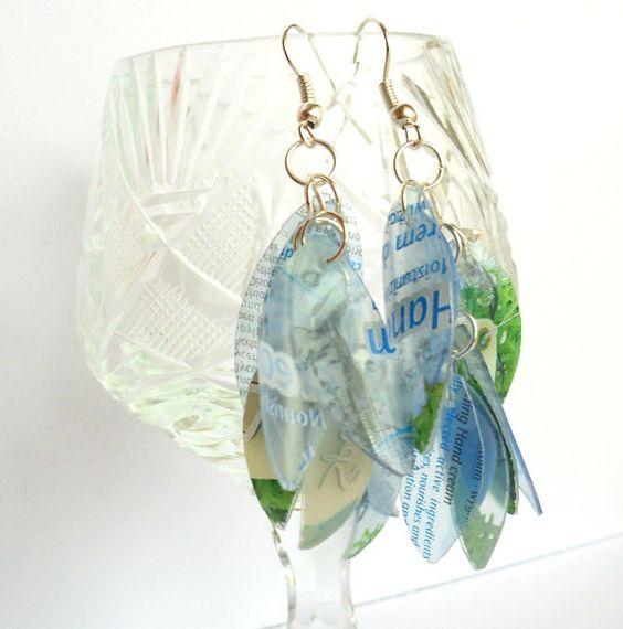 Blue & green eco friendly earrings made of by dekoprojects on Etsy, $11.50