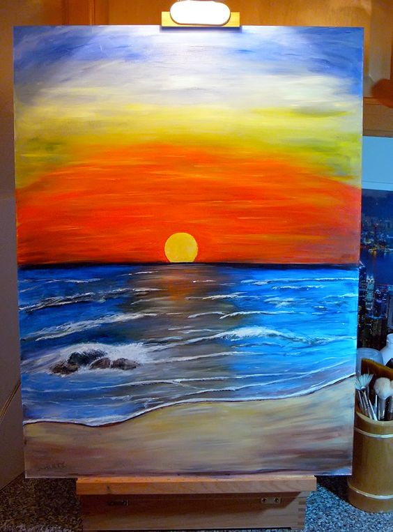 acrylic paintings | sunset acrylic painting by dx ...