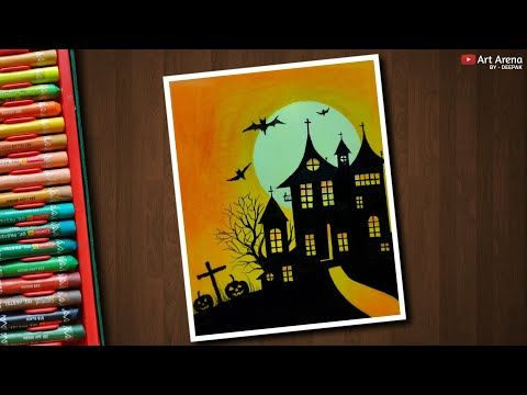 Halloween Drawing With Oil Pastels Step By Step Youtube With