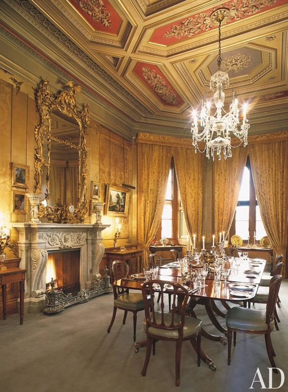 Traditional dining room in england id es de d coration for Traditional dining room fireplace