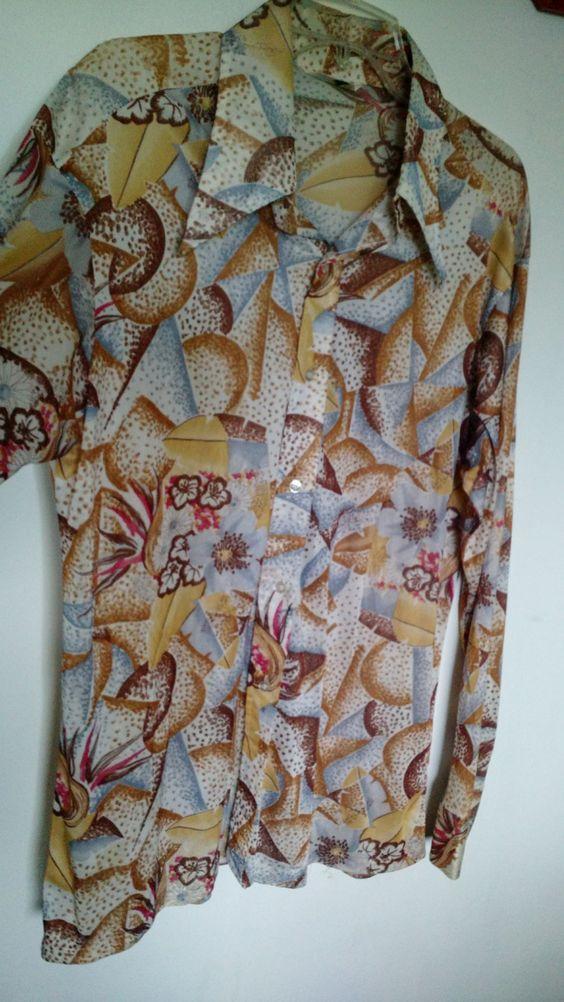 Vintage 70s Shirt XL Mens Disco Slinky Acetate Nylon Big Collar Geometric…