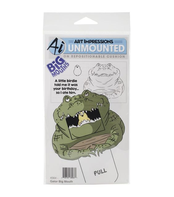 Art Impressions Big Mouths Gator Cling Rubber Stamp 7''x4''