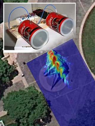 A radar signal image superimposed on an overhead photo of a large steel scultpure, plus a photo of a student-built radar system.