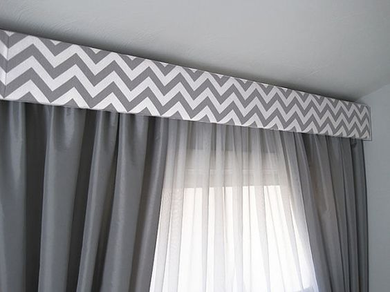 Gray Chevron Modern Cornice Board Valance Window Treatment