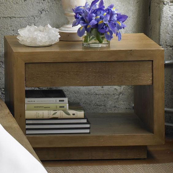 Modern Platform Bedside Table-Light Finish