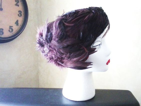 Brown Felt and Feather Hat by HoneysDaughter on Etsy