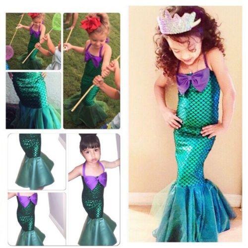 Kids Ariel Little Mermaid Set Girl Princess Dress Party Cosplay Costume YP