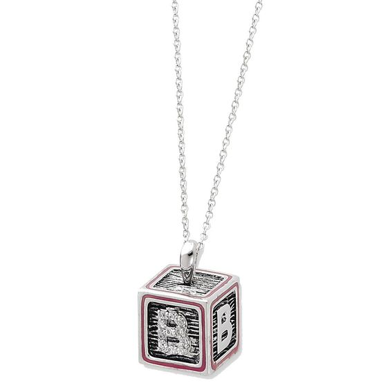 Sterling Silver Antiqued Pink Family Building Blocks 18in Necklace