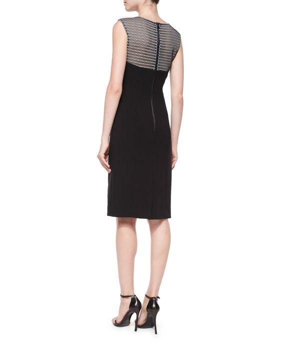 Couture Mesh Helix Sheath Dress, Black/White