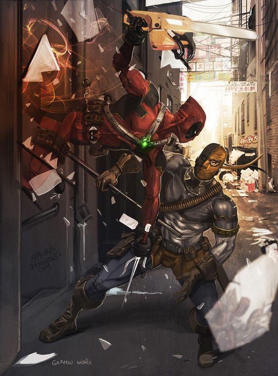 Deadpool vs Deathstroke | Deadpool_vs_Deathstroke_by_Aracubus.jpg