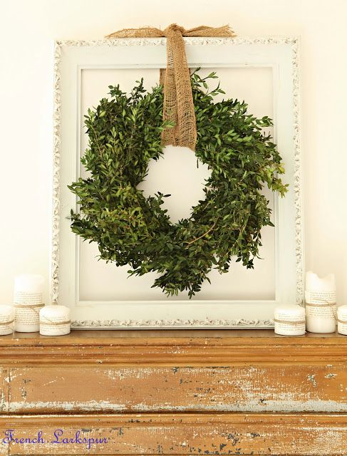 boxwood wreath, burlap, and vintage frame