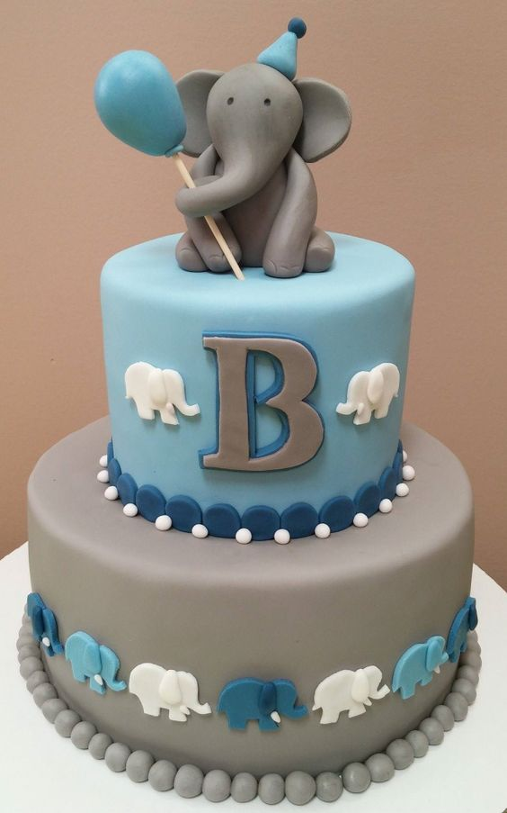 Design For Birthday Cake For Boy : Elephant cakes, Elephants and First birthdays on Pinterest