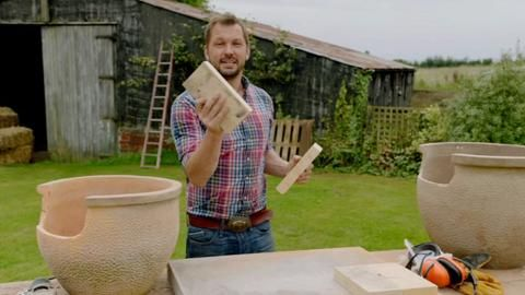 Jimmy demonstrates how to build a pizza oven using plant pots