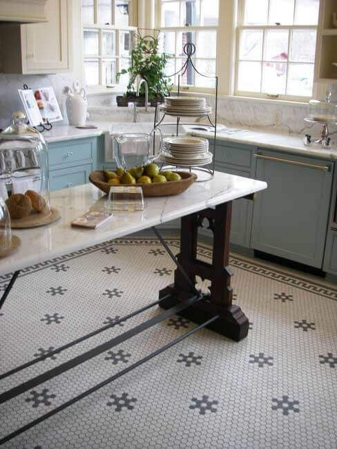 25 Ways To Do Kitchen Floor And Wall Tiles Hexagon Tile Kitchen Floor Kitchen Floor Tile Patterns Kitchen Floor Tile