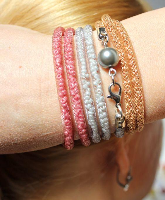 La Bijou Box d'avril 2015 • Fishing bijou • Bracelets en résille tubulaire à porter aussi en collier • www.labijoubox.fr