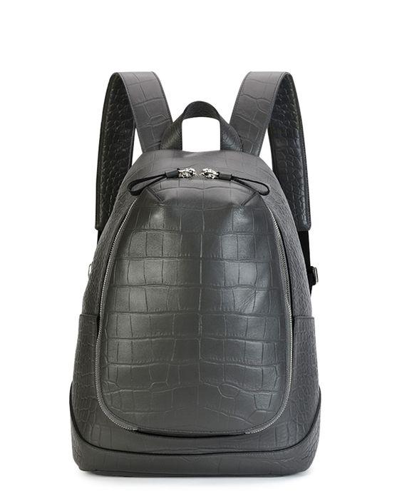 Croc-Embossed Leather Backpack, Gray, Grey - Alexander McQueen